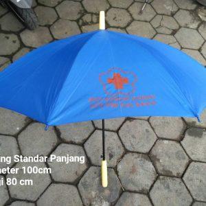Payung Standar Biru Gagang Kayu