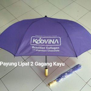 Payung Lipat 2 Ungu gagang Kayu