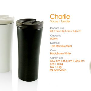 charlie vacuum tumbler souvenir promosi